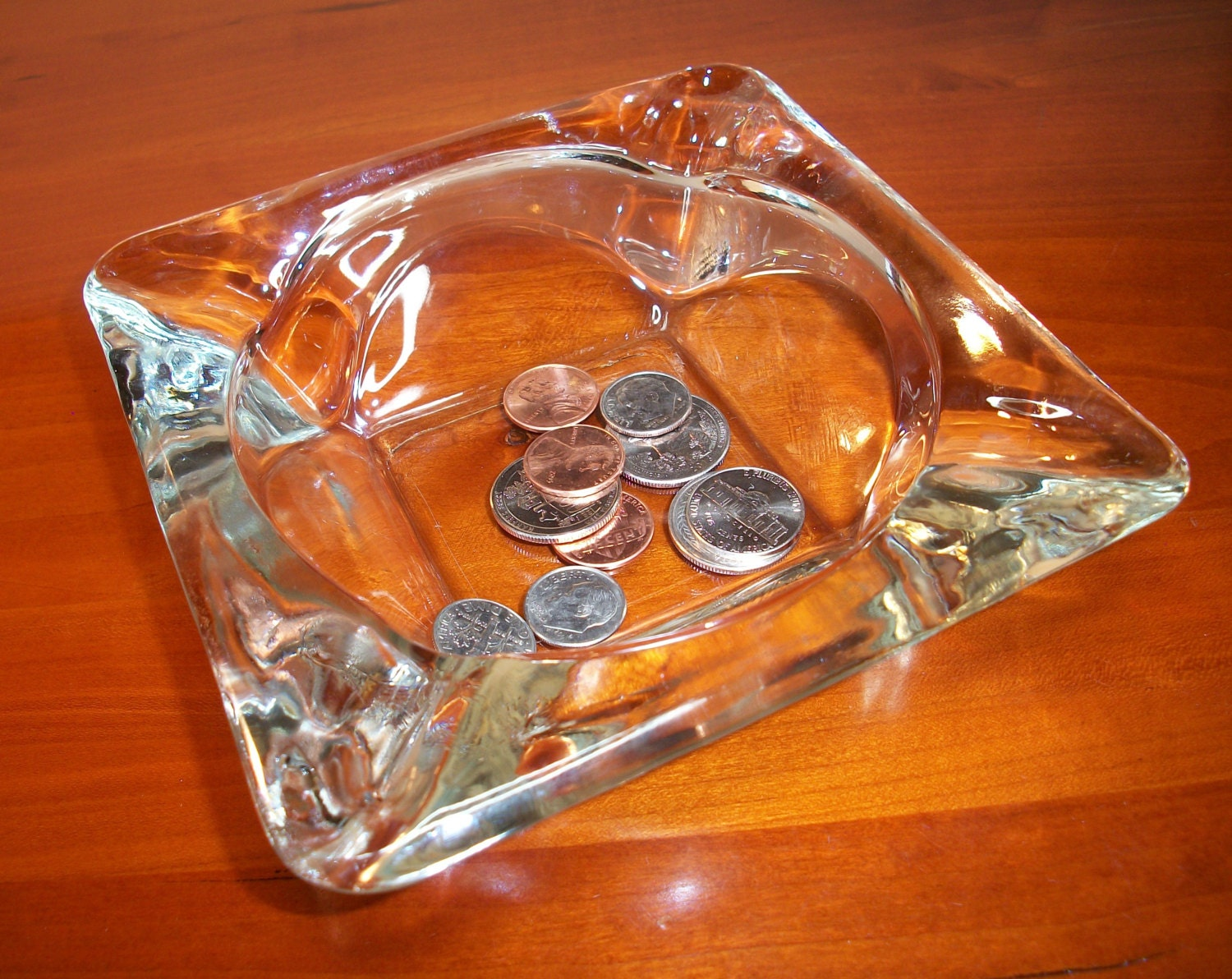 Chunky Square Glass Ashtray