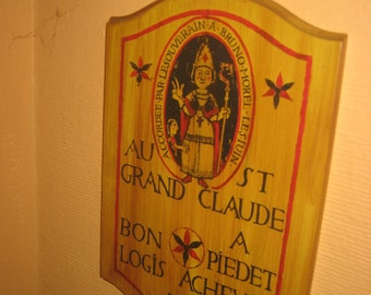 1950s French Wood Sign/Plaque/French Wall Decor