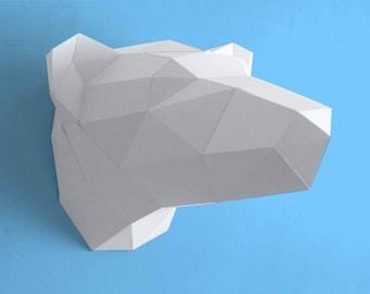 Trophy white mount bear head