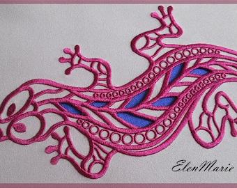 R033 Lizard_Cutwork_Richelieu-Machine Embroidery Design