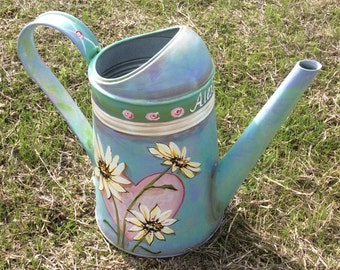 Rustic watering can hand painted , Mother's Day sister daughter Cottage, daisy, heart, garden decor, lover   Aqua, Baby blue,birthday gift