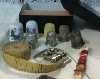 Neat Old Sewing Stuff in box