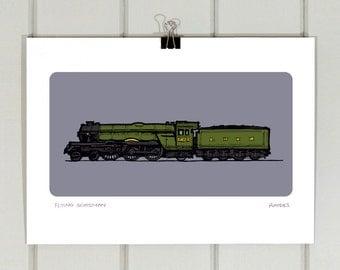 Flying Scotsman A4 print   Steam   Train   Engine   Illustration   Drawing