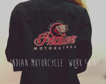 Vintage Indian Motorcycle shirt / Indian Motorcycle / vintage work shirt / altered work shirt