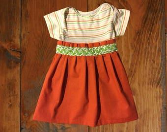 Orange Spring Pleated Onesie Upcycled Girls Dress, Size 2