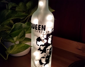 Queen Forever - Wine Bottle Accent Lamp - Nightlight - Gifts for Her - Music - Freddie Mercury - Birthday - Gifts for Him - Easter