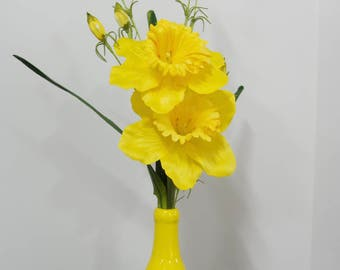 Silk Arrangement of Daffodils With Yellow Wildflowers in Yellow Ceramic Vase