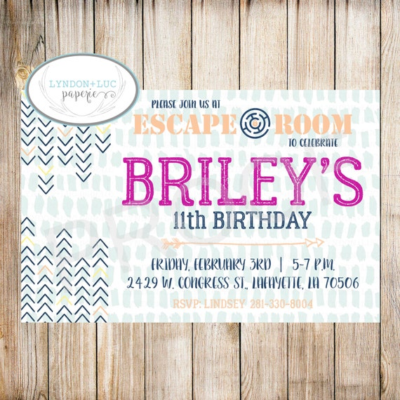 Escape Room Birthday Party Invitation