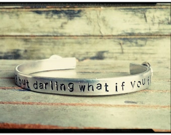 Hand Stamped Cuff - What if I fall//What if You fly- Quote Cuff -Wing Charm Cuff//Silver Bracelet -Quote Jewelry/Inspirational -Gift for Her