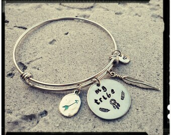 My Tribe - Stainless Steel Bangle//Hand Stamped Charms//Feathers/Dreamcatcher/Arrow/heart -