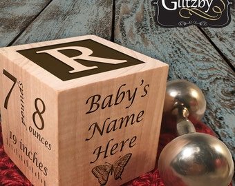 Baby Girl Gift Custom Birth Block Personalized Girl Baby Block Personalized Baby Item Newborn Keepsake For Proud Parents New Mommy