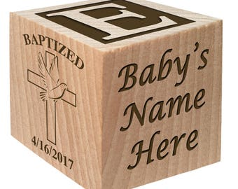 Handmade Craft - Catholic Gifts - Baptism Gift - Christening Ideas keepsake Custom Engraved wooden baby blocks for newborn girl newborn boy