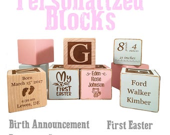 Best Baptism Gifts - Christening Block - Handmade Craft - Keepsake Custom Engraved wooden baby blocks for newborn girl newborn boy