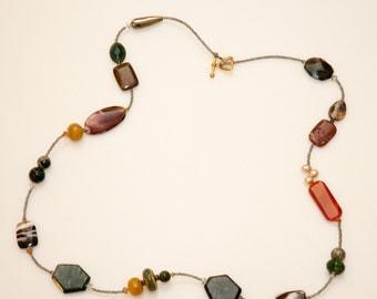 Gemstone Necklace, elegance necklace, gemstone, perl, handmade, perfect gift