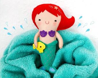 Cute Mermaid Felt Doll, Handmade, Felt toy, Little, Gift