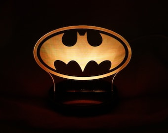 Batman symbol LED night light for desks, bars, man caves, night stands, and more.