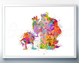 Disney Pixar Monsters Inc Mike and Sully Watercolor Poster Print - Watercolor Painting - Watercolor Art - Kids Decor- Nursery Decor [1]