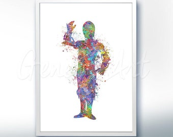 Star Wars C-3PO The Force Awakens Watercolor Art Silhouette Poster Print - Wall Decor - Watercolor Painting - Home Decor - Kids Decor
