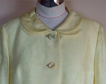 Silk Shantung Pastel Yellow 1960s Jacket Boxy Cut Jackie O