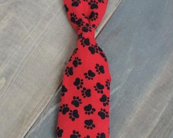 Red Dog Tie, Paw Print Dog Tie, Paw Necktie, Dog Accessories, Adjustable Dog Tie, Adjustable Dog Necktie, Paw Prints