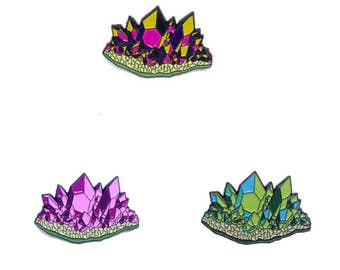 Set of 3 Crystal Lapel Pins Amethyst, Aquamarine and Pyrite