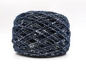 Italian Cotton Viscose Gimp Yarn in Navy White / Italian Igea (Pallino) / 50gm / Knitting Yarn / Crochet Yarn / Weaving Yarn / Specialty
