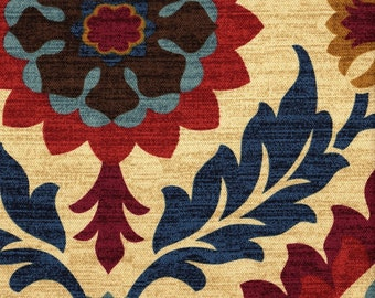 Empress Swag Valance, Santa Maria Gem- Warm Sand, Blue, Cranberry, Maize