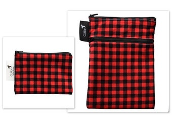 Ready to ship - Mini wet dry wet bag and matching Pocket Wet Bag with zipper and PUL liner great for cloth pads - red plaid
