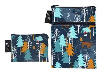 Ready to ship - Mini wet dry wet bag and matching Pocket Wet Bag with zipper and PUL liner great for cloth pads - Camp Out