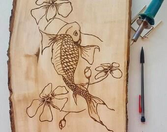 Koi Fish Pyrography - Koi Fish Wood Burning - Koi Wood Art - Koi Fish drawing - Koi Fish Art - Wood Burning - Pyrography - Wood Art - Koi