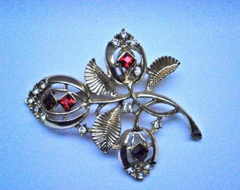 Floral Red-Stone Brooch