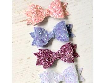 Pink glitter hair bow, lilac glitter hair bow, white glitter hair bow, glitter hair  bow, girls hair bow,