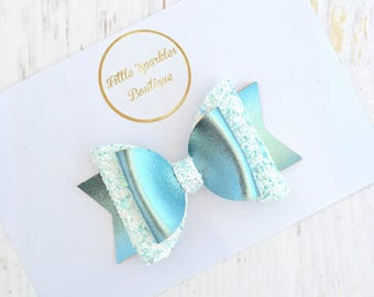 Mint hair bow, white glitter hair bow, mint leather hair bow, girls hair accessories, over sized bow, baby hairband