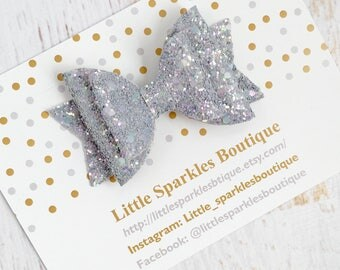 Grey glitter bow, baby/girls hair bow