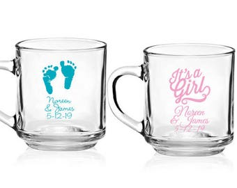 24 pcs Baby Shower Personalized 10 oz. Glass Mugs with Handle  - JM6903895-53337