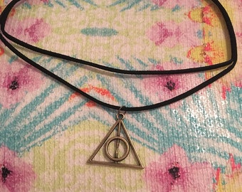 Deathly hallows double choker necklace