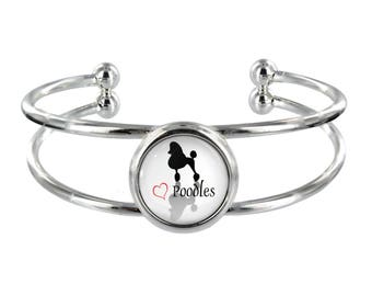 Heart Poodles Silver Plated Bangle in Organza Gift Bag