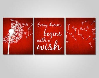 INSTANT DOWNLOAD - Dandelion Wall Art Decor - Dandelion Quote Rustic Wall Art Printable - Every Dream Begins With A Wish - Red