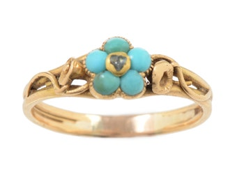 Turquoise and Diamond Forget Me Not Ring