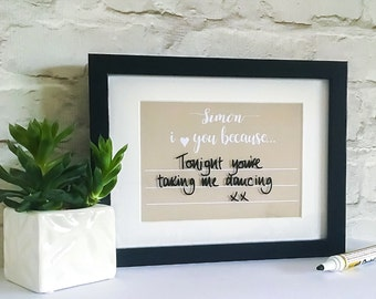 Personalised Message Print   Write On Wipe Off   Romantic Message Board   Valentines Gifts