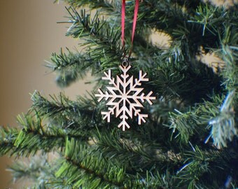 Laser Cut Wood Snowflake Ornament - Design #3 - 50% off