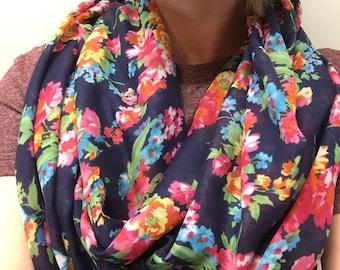 Floral scarf, scarf, light scarf, flower scarf, spring scarf, infinity scarf, circle scarf