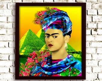 Frida Kahlo pop Art poster Print Painting Instant Digital Download Painting Print Mixed Media Collage Modern Photomontage pop art Collage