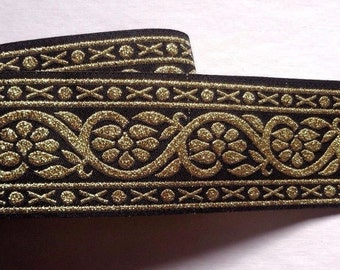 Jacquard Ribbon, 1+1/2 inch wide Black - Gold color selling by the yard