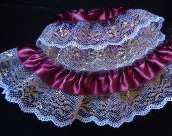 Wine Red/White/Metallic Gold 2 inch wide ruffled lace selling by the yard