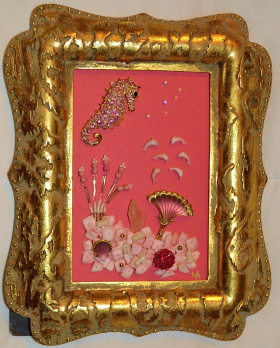 Vintage framed jewelry art home decor family heirloom art for Home interiors and gifts framed art