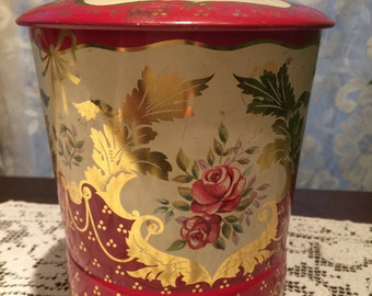 George W Horner & Co Candy Toffee Tin, Pink Rose Toffee Tin from England