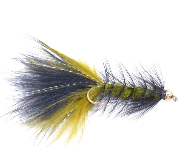 Hand Tied Trout Flies: Bead Head Crystal Woolly Bugger Olive/Black - Trout and Bass Fly Fishing Flies - Hook Size 4