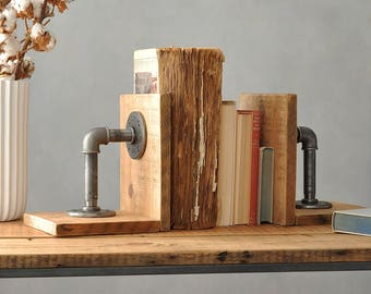 Pair Of Industrial Wood And Steel Bookends