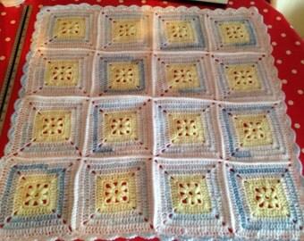 Blanket - Crochet - Baby Blanket - Baby shower gift - Blue, White & Yellow - Afghan Granny Square